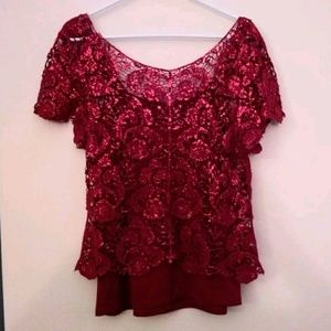 Heart Soul red sparkly lace top w attached cami